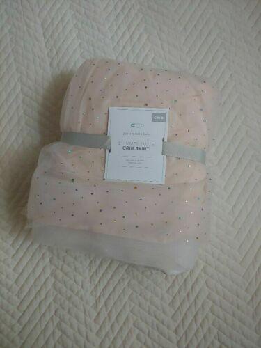 pottery barn kids Shimmer Tulle Crib Skirt original $129 one size new blush