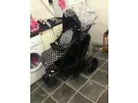 double buggy / pram / push chair unisex black polkadot