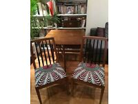 Mid century dining table and four chairs