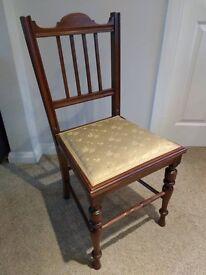 Antique Vintage mahogany rail back bedroom / hall chair - near Edinburgh