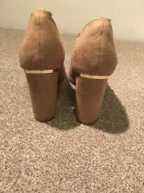 Nude and Gold Block Heels