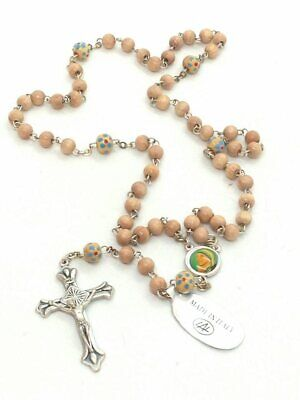 Mother Theresa Olive Wood Rosary Beads, Made in Italy, Stamped Mother Theresa Rosary