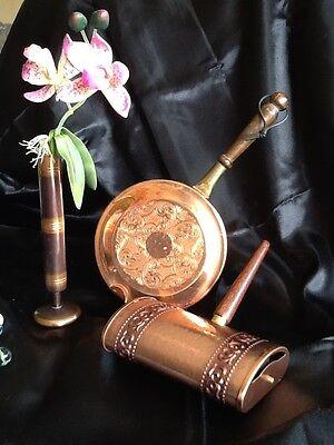 Vintage Mid Century Kupfer Tischroller mit Teak Griff Kupferpfanne Vase SET 3tl
