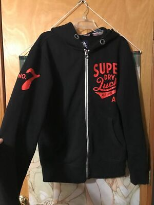 Superdry Japan Black Zip-up Hoodie Men's L