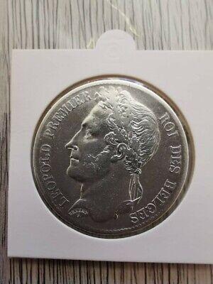 5 FRANCS LEOPOLD 1er 1833 TYPE B, PIECE DE MONNAIE ARGENT.