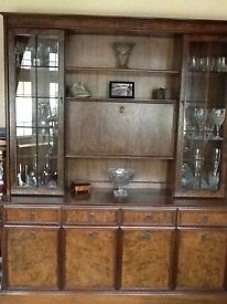 Beautiful Parker Knoll Burr Ash sideboard and glass display cabinet and matching corner unit.