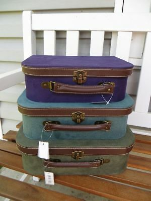 Set of 3 Imax Decorative Suitcase Storage Boxes Purple Green & Blue NWT