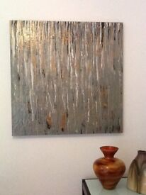 """Abstract wall art: Copper pipeline """"An original hand painted canvas 90x90cm"""