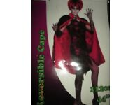 REVERSIBLE RED AND BLACK CLOAK/ CAPE NEW GREAT FOR A HALLOWEEN PARTY
