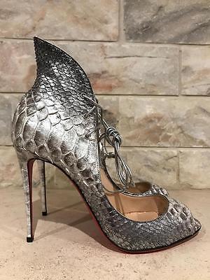 NIB Christian Louboutin Megavamp 100 Silver Python Lace Up Pump Heel 39 $1545