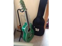 Children's guitar, stand and carrier bag