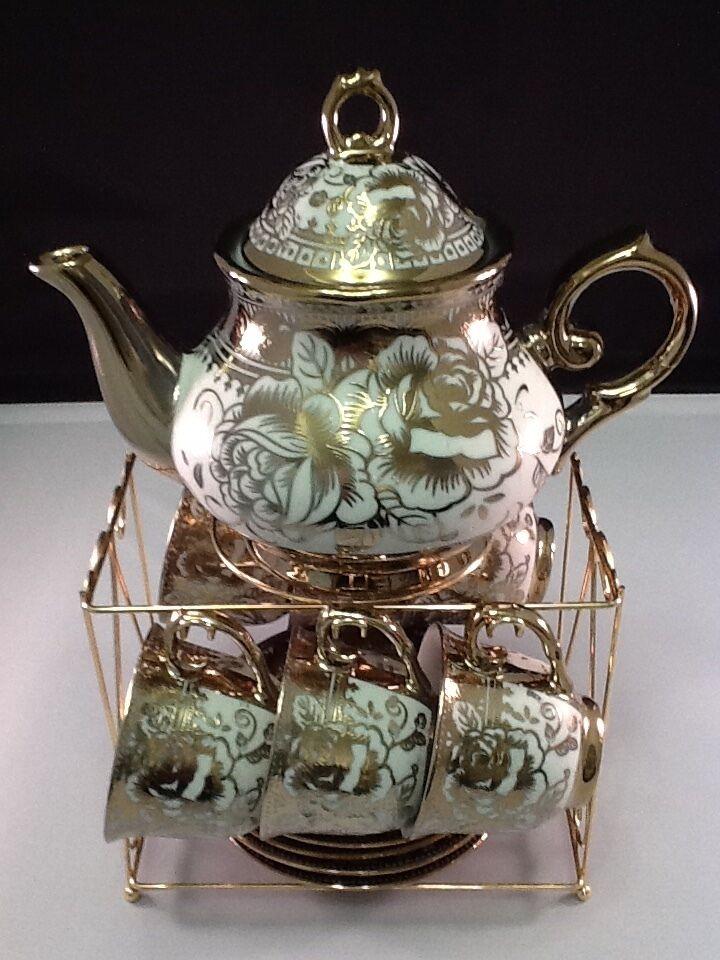 13pc Tea Set. Tea Pot 6 Cups + Saucers &Rack Coffee Cup Set
