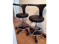 2 x ADJUSTABLE BLACK SALON/BEAUTY CHAIRS WITH GAS LIFT £20 EACH OR £35 FOR BOTH