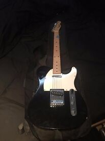 squier guitar with soft case and stand