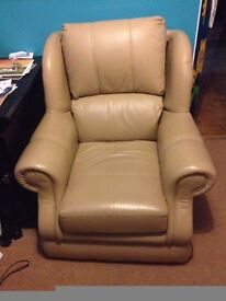 2 seater sofa and arm chair, beige leather