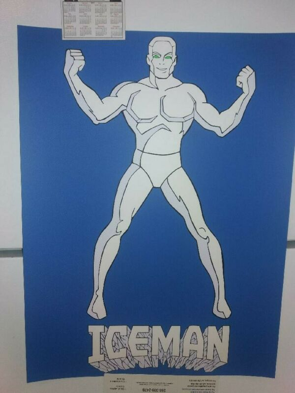 Vintage 1980s Marvel / DC comics ICEMAN XMEN Blacklight Carnival Poster