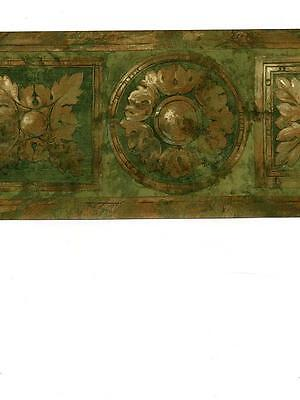 Wallpaper Border Antiqued Brass & Green Faux Wood Round and Square Medallion