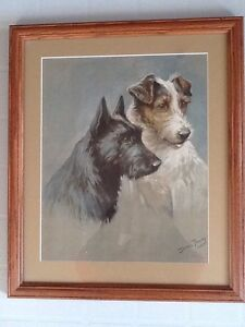 Beautifully Framed/Matted Print of SCOTCH TERRIERS