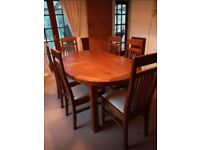 Chelsea Dark Oak Extending Dining Table with 6 Monaco Chairs