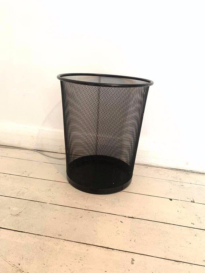 Mesh Metal Bin - Black Wiremesh Wire Dark Waste Paper Trash Metallic Desk  Office Basket Bucket | in Broadheath, Manchester | Gumtree