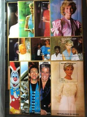 Niger Lady Diana Elton John Disney Pope John Paul Pavarotti Sheets MNH x13(D465