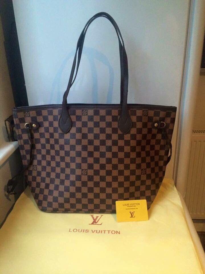 Louis Vuitton Neverfull Damier Designer Bag Handbag Tote