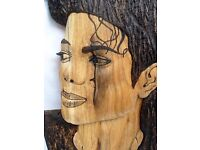 Michael Jackson portret made in oak wood