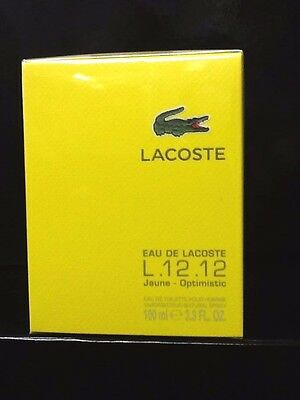 Eau De Lacoste L.12.12 Yellow Jaune Optimistic 3.3/3.4.oz/ EDT Spray New In Box