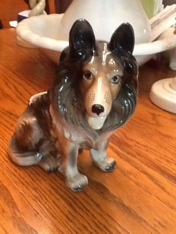 Vintage Tri Color Collie Dog Ceramic Planter