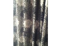 BLACK GREY THICK CHENILE CURTAINS EYELET FULLY LINED