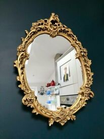 VINTAGE GOLD FRAMED WALLMIRROR, ORNATE THICK FRAME, ROCOCO, ORNATE RETRO