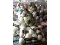 158 balls of bergere knitting wool. Mixture of different colours and textures