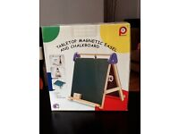 Kids tabletop magnetic easel and chalkboard