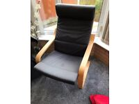 Ikea Poang Arm Chair Black Cushion, Beech Veneer (2 more chairs and a footstool also available)