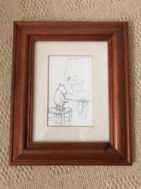 Winnie the Pooh postcard in pine frame