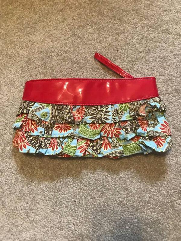 Bag Lady mudpie clutch wristlet red pattern excellent summer purse
