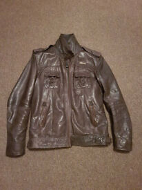 Superdry men's Ryan leather jacket. Brown. XL Size. RRP £225