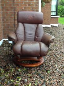 Leather Recliner, Swivel, Extremely Comfortable, Very Good Condition