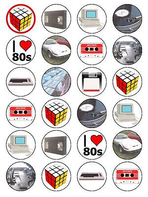 80s Cake Decorations (X24 RETRO 80S / EIGHTIES CUP CAKE TOPPERS DECORATIONS ON EDIBLE RICE PAPER)