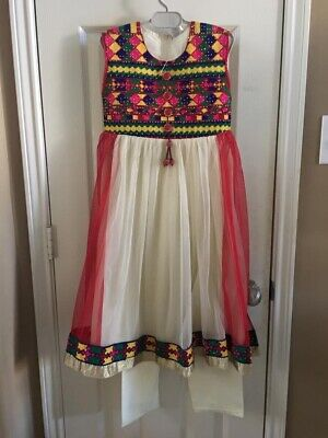 Indian Pakistani Kids Girls White Embroidered   Salwar Kameez Desi Ethnic Dress