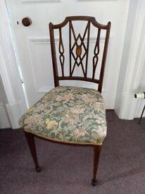 Antique Edwardian Inlaid Mahogany Chair.