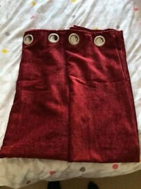 Dunelm Chenille Wine Lined Eyelet Curtains
