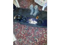 Snowboard. Goggles. Boots and bag