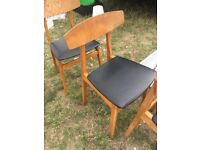 Set Of 3 Teak Dining Chairs With Leather Seat. Retro Vintage