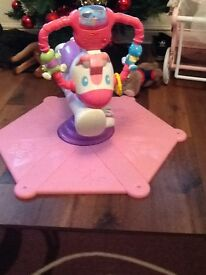 Pink fisher price bounce and spin zebra