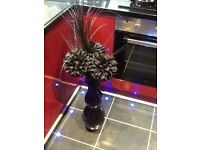 Black vace,nearly 2foot tall,with arrangement,4 foot total height,ex cond,only £7,pos local delivery