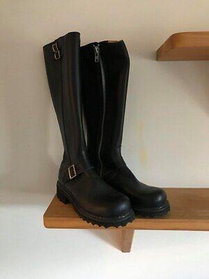🌟John Fluevog Size 5 Black Leather Bondgirl Knee Length Biker Boots Womens