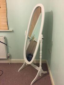 Full length white vintage shabby chic free standig mirror