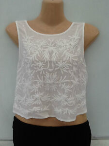BNWOT Topshop White Or Lemon Floral Flower Embroidered Crop Tops FREE P&P
