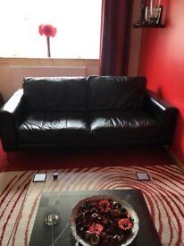Black leather sofas 2 x 3 Seater